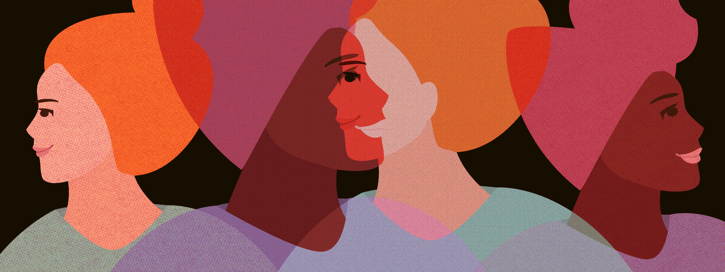 Abstract illustration of two women overlapping, one Black and one white.