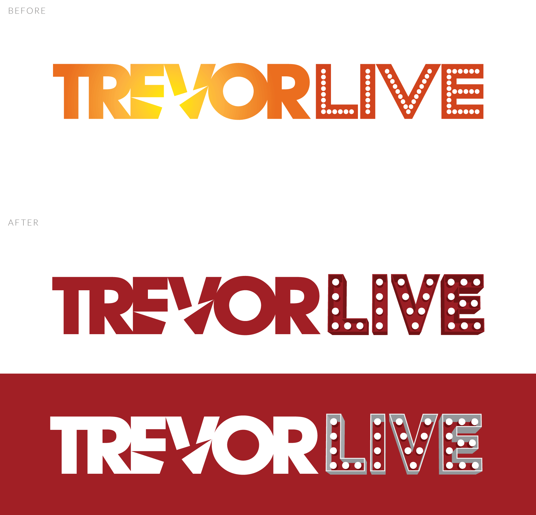 TrevorLIVE Logo Before & After