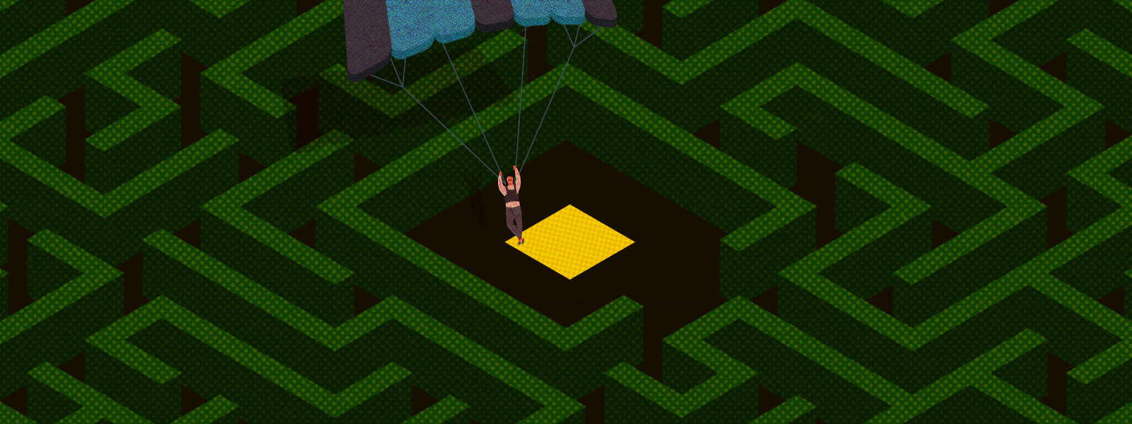 Illustration of a white person parachuting into the center of the maze.